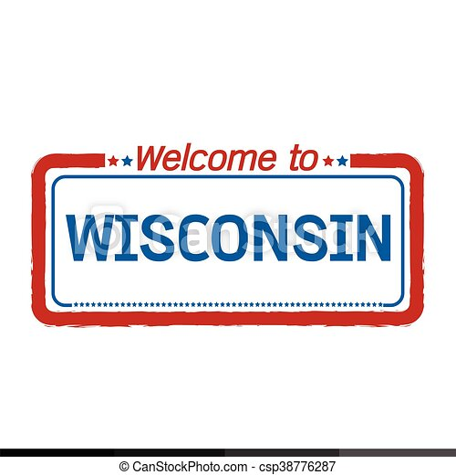 Welcome to WISCONSIN of US State illustration design - csp38776287