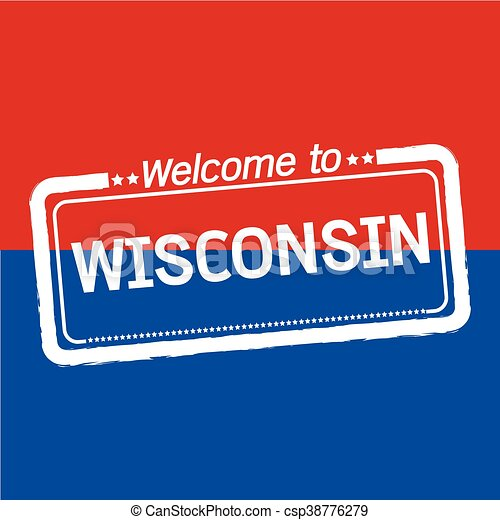 Welcome to WISCONSIN of US State illustration design - csp38776279