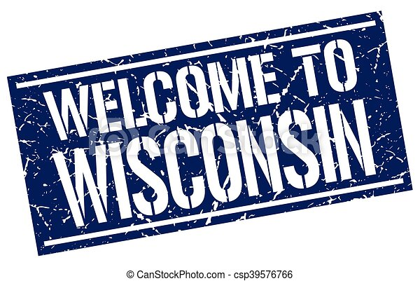welcome to Wisconsin stamp - csp39576766
