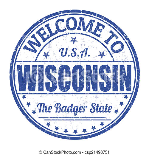Welcome to Wisconsin stamp - csp21498751
