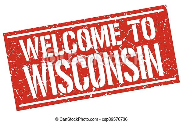 welcome to Wisconsin stamp - csp39576736