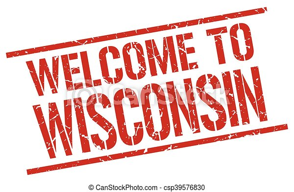 welcome to Wisconsin stamp - csp39576830