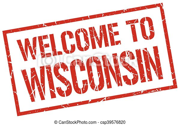 welcome to Wisconsin stamp - csp39576820
