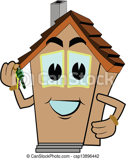 welcome to your new home house cartoon holding keys to new eps rh canstockphoto com new home clipart free