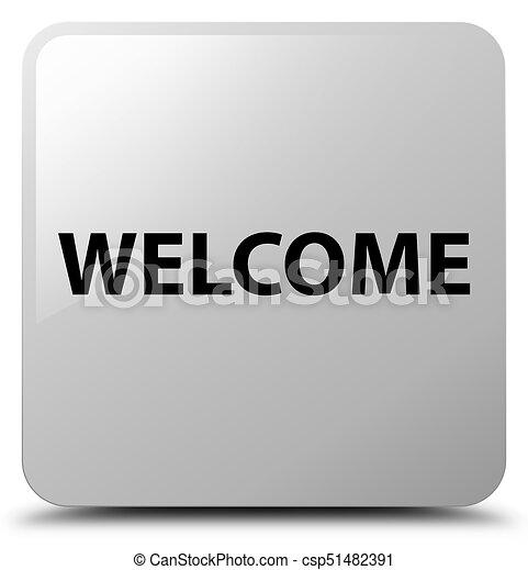 Welcome white square button - csp51482391