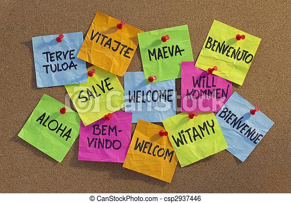 Welcome, willkommen, bienvenue, aloha,  Welcome in a