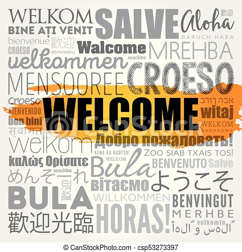WELCOME word cloud in different languages - csp53273397