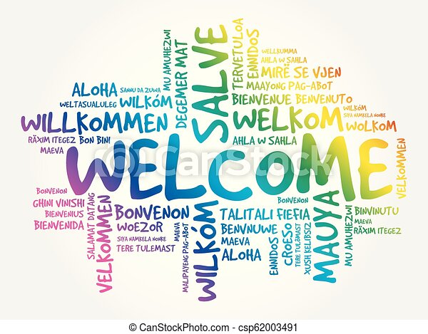 WELCOME word cloud in different languages - csp62003491