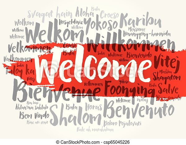 WELCOME word cloud in different languages - csp65045226