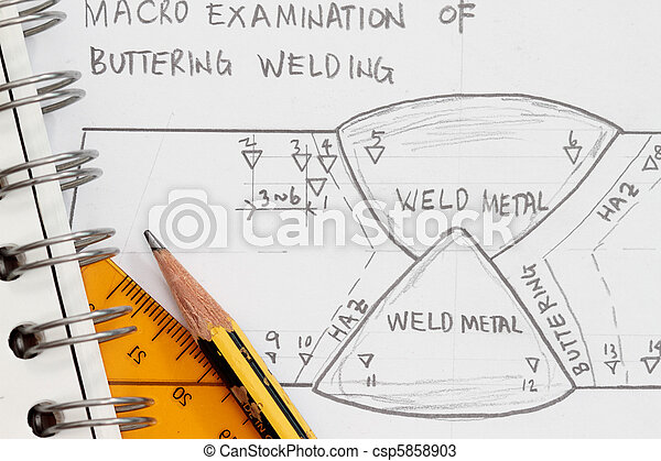 Weld Symbol As Shown In A Drawing Paper With Spiral Notebook And Pencil