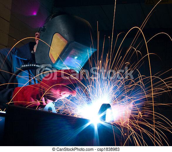 Welder with sparks - csp1838983