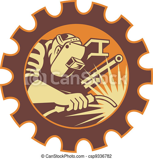 Welder Worker Welding Torch Retro - csp9336782