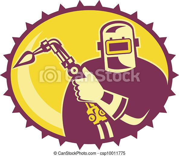 Welder Worker Welding Torch Retro - csp10011775