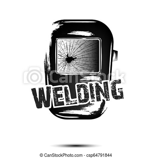 Welding And Abstract Mask Of A Welder Logo Welding Design Template Grunge Style White Background Vector Illustration