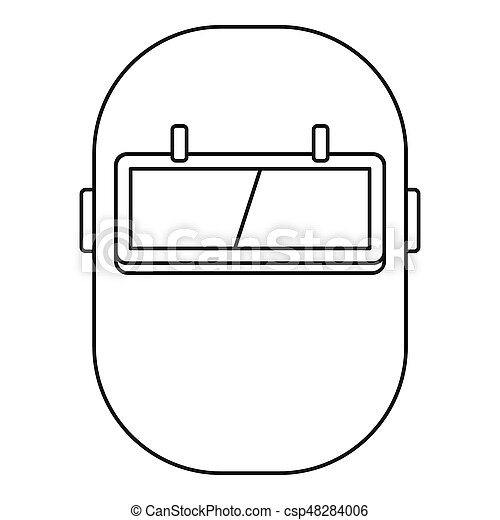 Welding mask icon outline. Welding mask icon in outline style isolated  illustration.Can Stock Photo