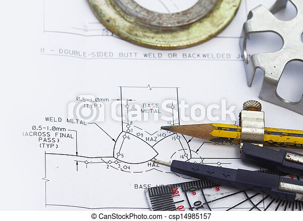 Welding Symbol With Engineering Tools And Gasket
