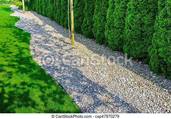Well Maintained Formal Garden With A Paths Of Small Stones Hedgerow And Green Lawn In Greenery Tone Canstock