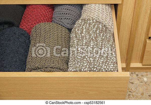 well-organized, bois, ouvrir tiroir - csp53182561