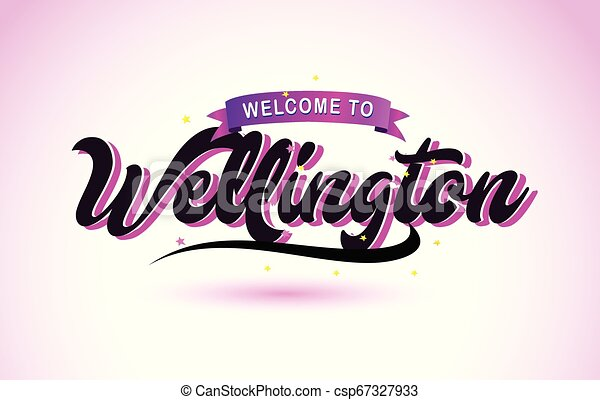 Wellington Welcome to Creative Text Handwritten Font with Purple Pink Colors Design. - csp67327933