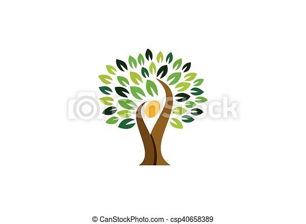 wellness, logo, folk, træ, ikon - csp40658389