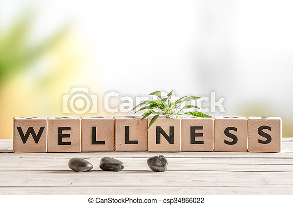 Wellness sign with wooden cubes - csp34866022