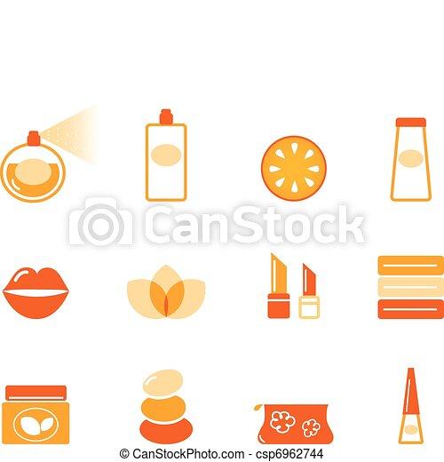 Wellness, spa and cosmetic icons set ( orange )  - csp6962744