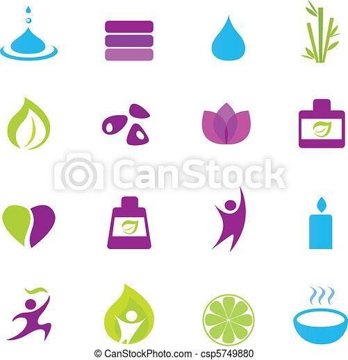 wellness, zen, acqua, icone - csp5749880
