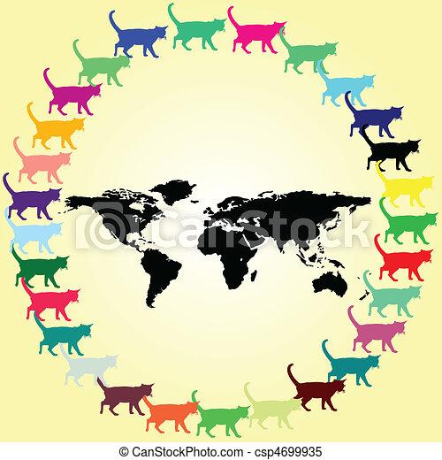 Die Katze auf der Welt illustriert - csp4699935
