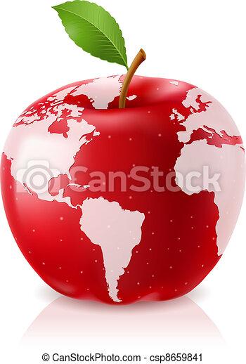 welt, apfel, rotes , landkarte - csp8659841