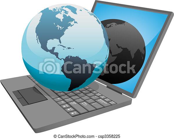 welt globus, edv, laptop, erde - csp3358225