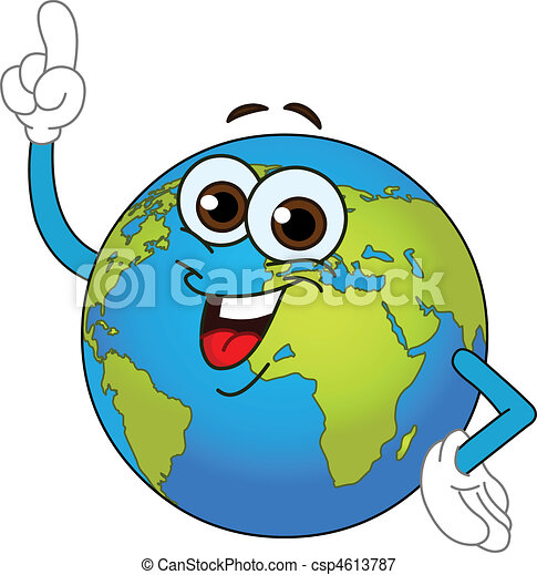World Globe Cartoon - csp4613787