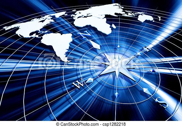 Kompass mit Weltkarte - csp1282218