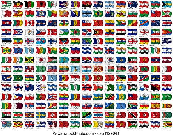 Welt Satz Flaggen Ausschnitt Eigen Name 210 Welt Land