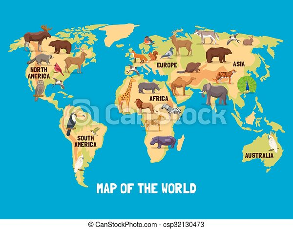Karte Kontinente Welt.Welt Tiere Landkarte
