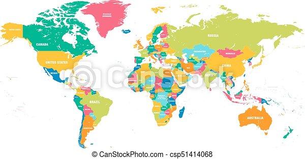Farbige Vektor Weltkarte Colorful Hi Detaillierte Vector