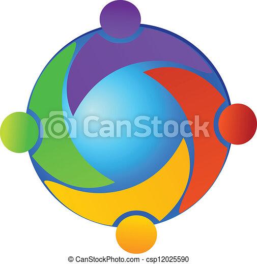 welt, vektor, gemeinschaftsarbeit, logo - csp12025590