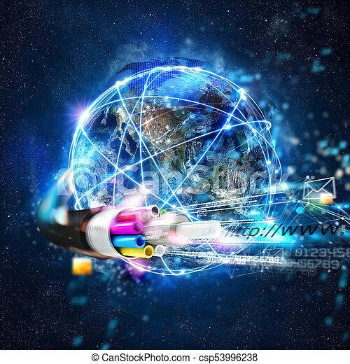 weltweit, faser, schnell, anschluss, optisch, internet - csp53996238