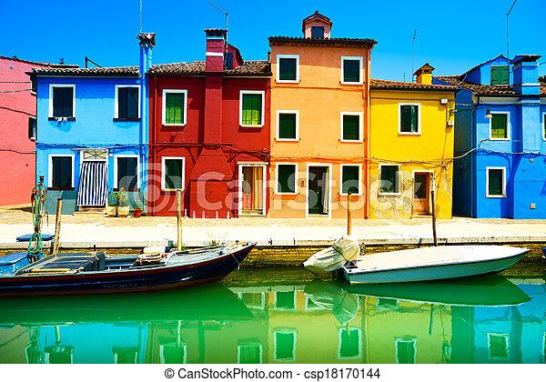 wenecja, burano, kanał, barwny, wyspa, fotografia, italy., długi, domy, punkt orientacyjny, łódki, ekspozycja - csp18170144