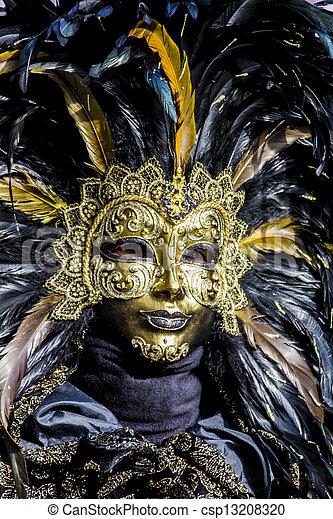 wenecka maska, karnawał - csp13208320