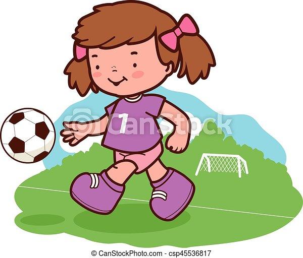 Kleines Madchen Das Fussball Spielt Vector Illustration