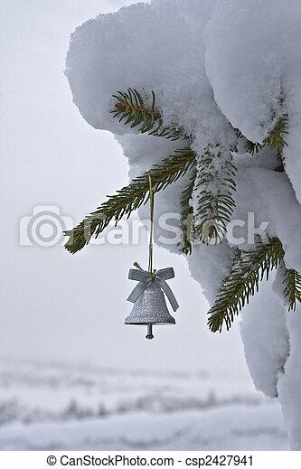 wenig, baum, weihnachtsglocke - csp2427941