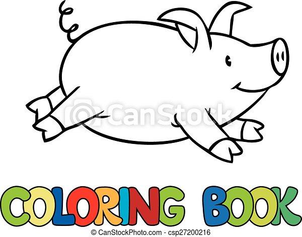 Wenig, farbton- buch, schwein. Bild, wenig, färbung,... Vektor ...