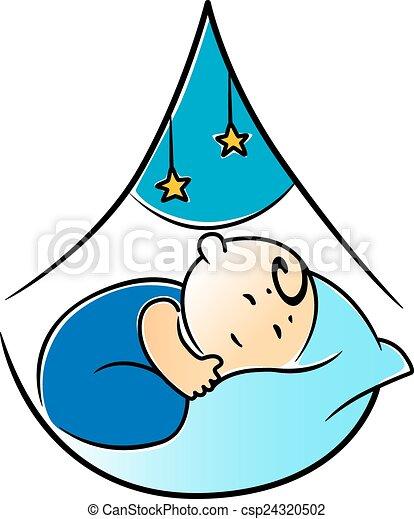 Wenig Kinderbett Schnell Schlafend Baby Ihr Blaues Junge