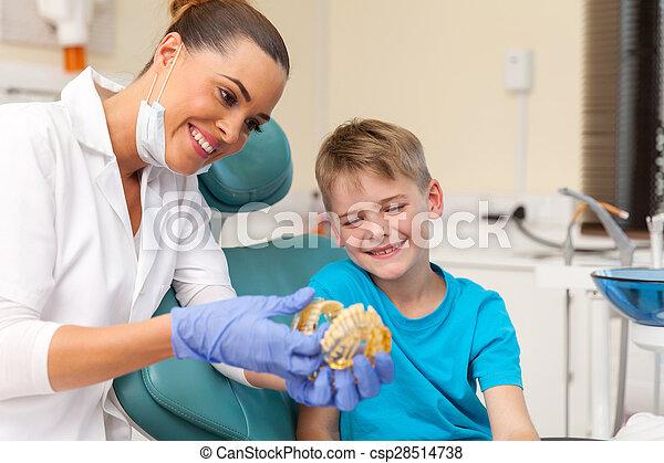 wenig, patient, ausstellung, zahnarzt, z�hne, modell - csp28514738