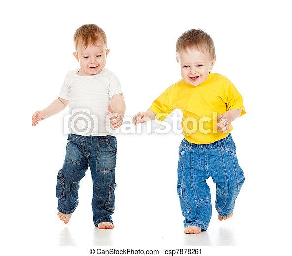 wenig, spiel, zwei jungen, rennender , spielende  - csp7878261