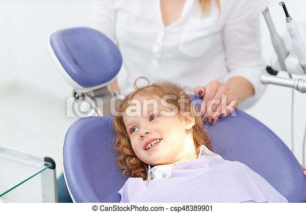 Kleines Mädchen im Zahnarztstuhl - csp48389901