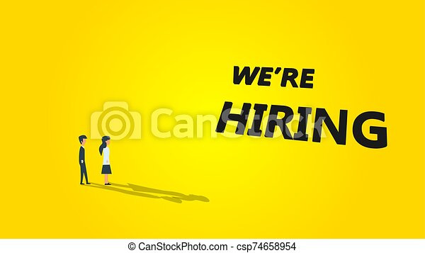 We Re Hiring Business Vector Illustration Background Job Career Recruitment Concept Banner Work Text Message Wanted Now