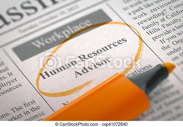 We're Hiring Human Resources Advisor. 3D. - csp41072840