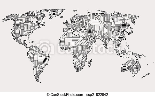 wereld, digitale  - csp21822842