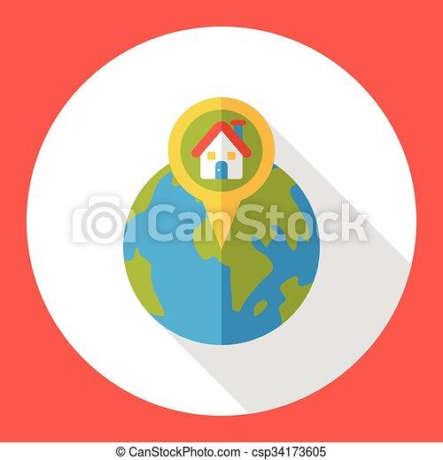 wereld, internet, plaats, plat, pictogram - csp34173605